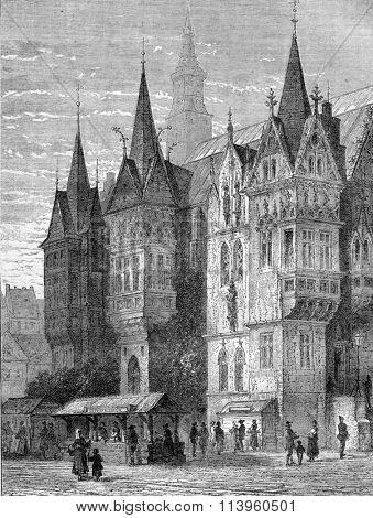 Town Hall, Breslau, vintage engraved illustration. Magasin Pittoresque 1870.