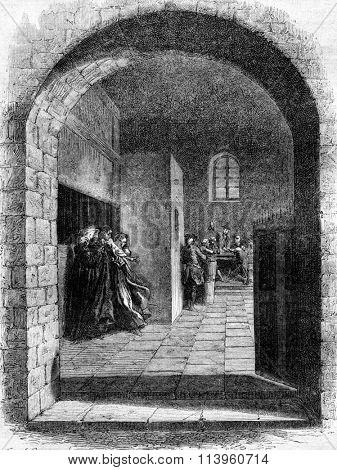 John Shepherd Sheppard escaped from Newgate Prison, vintage engraved illustration. Magasin Pittoresque 1870.