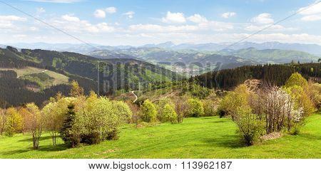 Springtime View From Javorniky To Mala Fatra Mountains