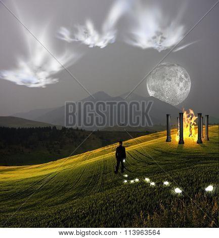 Ghostlike faces above landscape