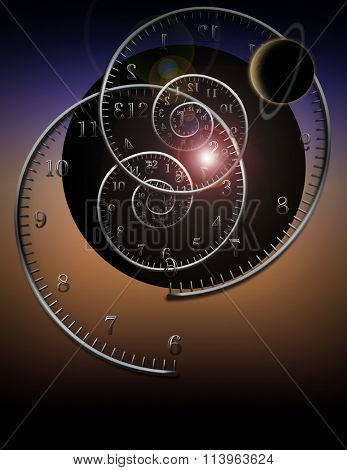 Spiral clocks and space time