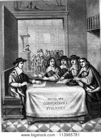 Conferences of the seventeenth century, Frontispiece of a book of Theophrastus Renaudot, vintage engraved illustration. Magasin Pittoresque 1869.