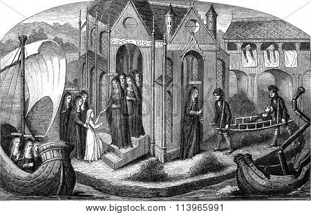 Miniature of the fifteenth century, Reception of a novice to the Hotel Dieu in Paris, vintage engraved illustration. Magasin Pittoresque 1869.