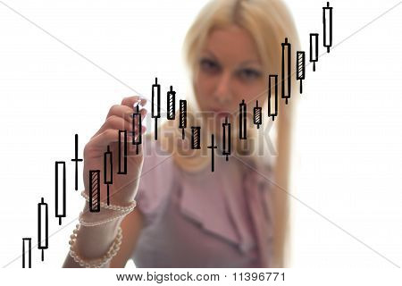 The Businesswoman Writes The Grath On The Glass