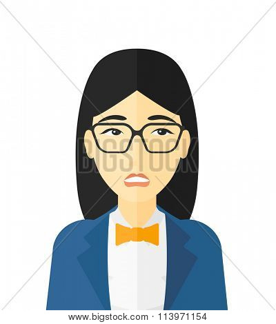 Embarrassed woman in glasses.