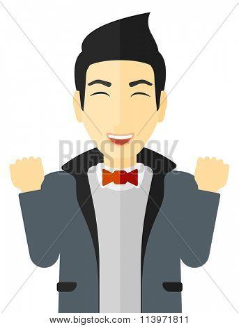 Cheerful man experiencing euphoria.