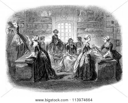 Interior of a shop in the eighteenth century, vintage engraved illustration. Magasin Pittoresque 1853.