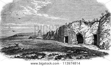 Prison of Socrates, Athens, vintage engraved illustration. Magasin Pittoresque 1853.