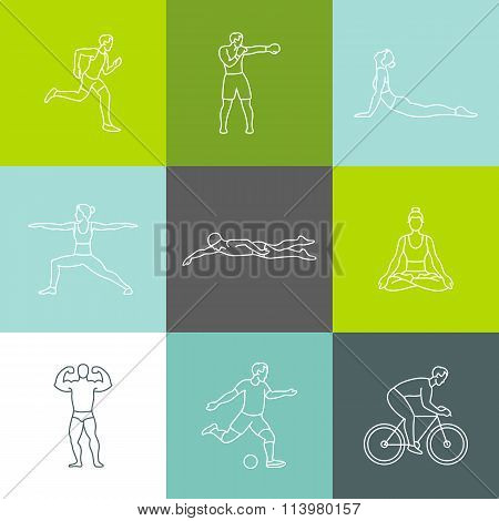 Vector Set Of Linear Sport Icons