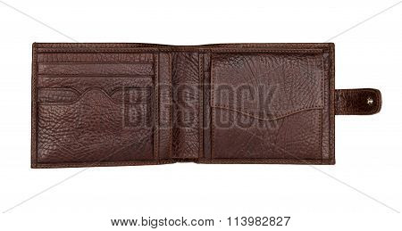 Brown Natural Leather Wallet Isolated On White