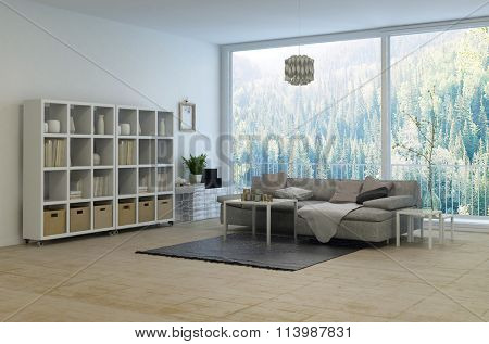 Cozy corner in a modern living room with a large panoramic floor-to-ceiling window overlooking a rural forest. 3d rendering.