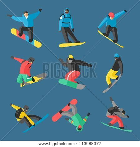 Snowboarder jumping different pose on background. Snowboard people tricks. Snowboarder tricks.Special snowboard tricks isolated. Snowboard tricks vector illustration.Snowboarder isolated
