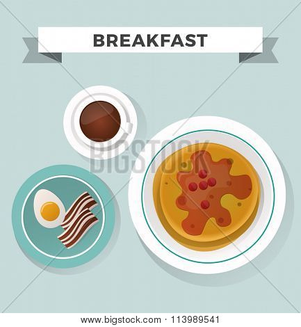 Breakfast flat top view set. Breakfast icons silhouette illustrations. Breakfast from different countries. Breakfast vector food illustration. Food and drinks. Breakfast silhouette vector. Breakfast