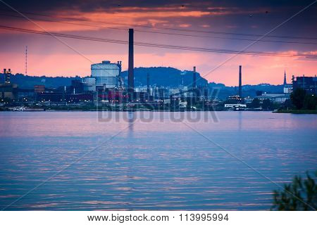 Industry at dusk by the Danube