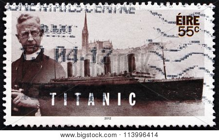 IRELAND - CIRCA 2012: a stamp printed in Ireland shows Pater Francis Browne, Photographer, Centenary of Titanic's Sinking, circa 2012