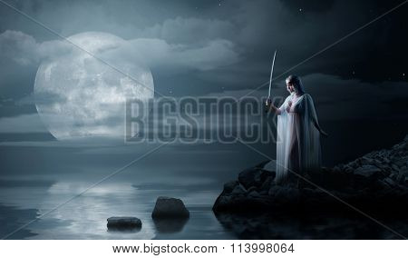 Young elven girl with sword on night sea coast poster