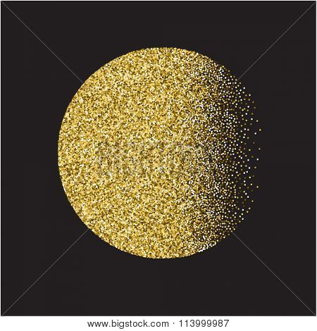 Vector moon with gold texture, glitter background with gold texture, glitter