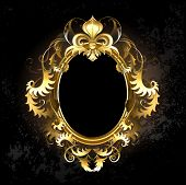 oval jewelry banner framed golden ornament with a gold Fleur de Lis on a dark background. poster