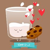 Postcard Valentine's Day. carton of milk  with pieces of cookies. Comic food. Illustration with funny characters. Love and hearts.  The illustration on the theme of milk. Vector illustration poster