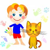 little boy and a cat drawing cat tracks everywhere and children's hands and feet poster