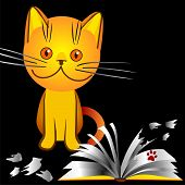 orange kitten bully made a mess in the house broke the book an illustration on a black background poster