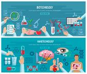 Horizontal banners with elements of biotechnology and nanotechnology design collection vector illustration poster