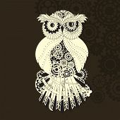 Steampunk outline vector owl with gear. Metallic steam punk owl made from steel. Vintage steampunk owl isolated on white poster
