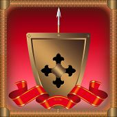 Golden shield with black cross and a red ribbon. poster