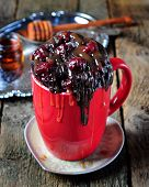 Delicious Mug Cake, chocolate cherry cake cooked in a cup in the microwave poster