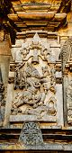 Artistic outer walls with Matsya avatar of Lord Vishnu at Chennakesava temple at Belur captured on December 30th, 2015 poster