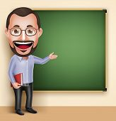 3D Realistic Professional Old Professor Teacher Man Vector Character Speaking or Talking with Blank Blackboard Isolated in White Background. Vector Illustration poster