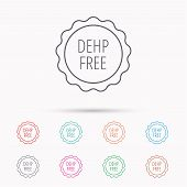 DEHP free icon. Non-toxic plastic sign. Linear icons on white background. poster