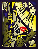 Vector illustration for design banner jazz music festival or concert in retro geometric abstraction style poster