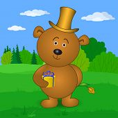 Holiday vector: teddy bear in cylinder with gift box and flower on meadow poster