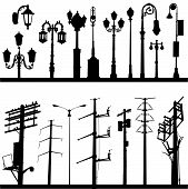 set of city objects illustration design vector poster
