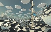 Surreal Chess board Landscape  poster
