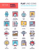 Vector set of pixel perfect based on 64 px grid colorful flat line web icons on SEO and web optimization theme. poster