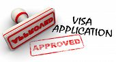 "Visa application approved. Red stamp and imprint ""APPROVED"" poster"