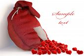 pile of red hearts spill out of the red bag with a patch. with clipping path poster