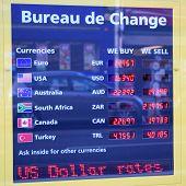 Detail of Bureau de Change with displayed exchange rates poster