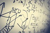 Complex math formulas on whiteboard. Mathematics and science with economics concept. Real equations, symbols handwritten by a professional.  poster