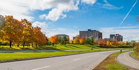 Ottawa along the riverside parkway - winding paved roads make for an outing in autumn afternoon sun.