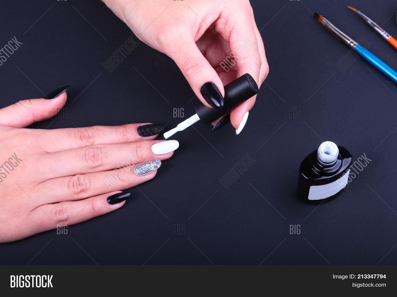Black, White Nail Art Manicure. Image & Photo | Bigstock
