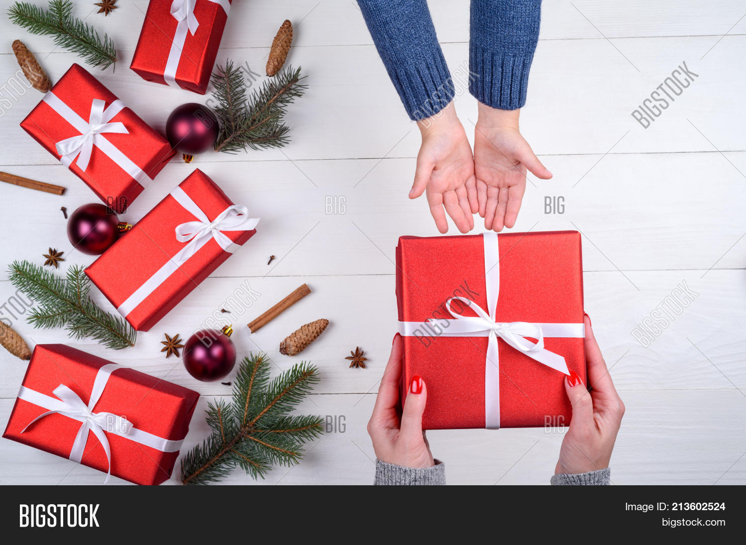 Family Christmas Gift Giving.Mother Giving Image Photo Free Trial Bigstock