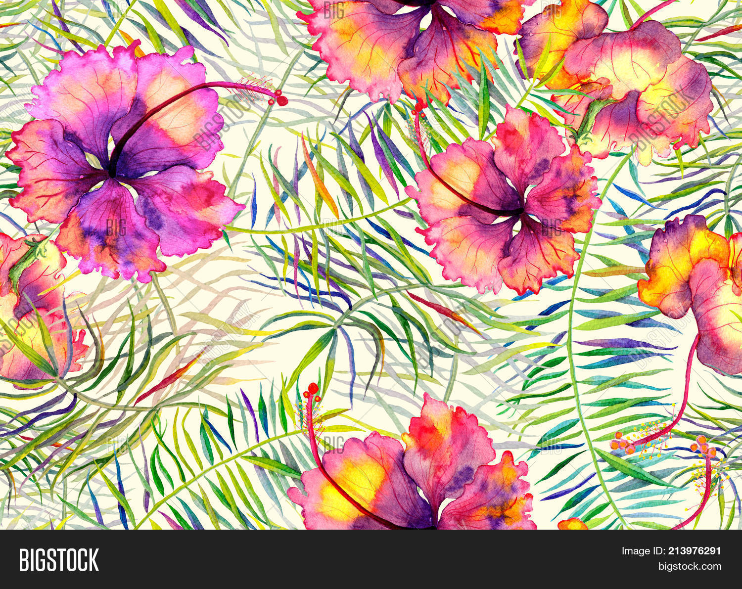 Hibiscus Pattern Image Photo Free Trial Bigstock