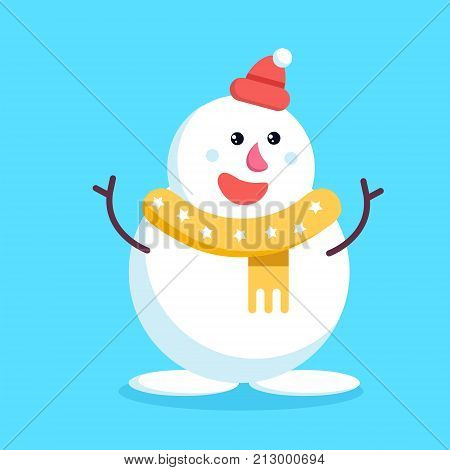 Christmas Snowman Waving Stick Hands And Smiling. Cute Cheerful Cartoon Xmas Snow Man In Yellow Scar