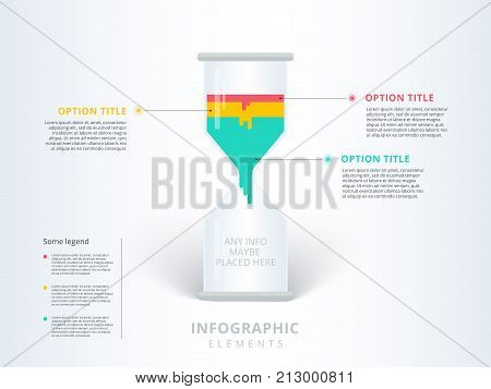 Hourglass Or Sand Clock 3 Steps Business Process Chart Infographics. Sandglass Corporate Workflow Gr