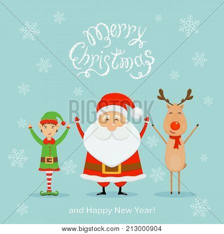 Happy Santa Claus with elf and reindeer. Text Merry Christmas and Happy New Year with falling snowflakes on blue background, illustration.