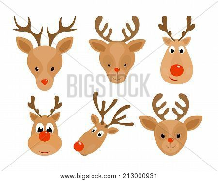 Set of Christmas deer. Head of Happy reindeer with red nose isolated on white background, illustration.