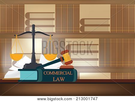 Commercial law books on a table and blurred bookshelves background with a judge's gavel judicial and law system conceptual vector illustration.